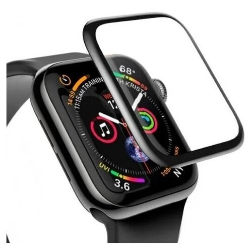 Полноэкранное защитное стекло для смарт часов Apple Watch 5 series 44 мм Премиум 3D / Стекло на Эппл Вотч