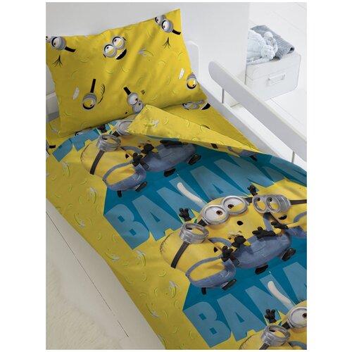 Фото - Комплект постельного белья 1.5 бязь Миньоны 2 (70х70) рис. 16309-1/16312-1 Банана комплект постельного белья первый мебельный кпб миньоны миньоны 1 5 сп 70х70