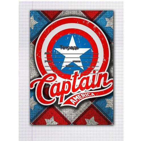 Купить Набор тетрадей 5 штук, 12 листов в клетку с рисунком Капитан Америка, Drabs, Тетради