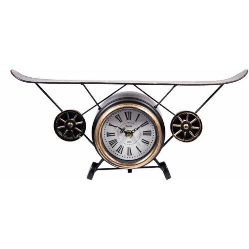 Часы настольные Русские подарки Аэроплан коричневый