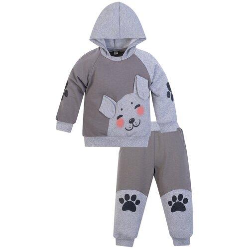 Костюм детский 746, Утенок, размер 56(рост 104 см) серый_меланж_собака (толстовка с капюшоном и брюки)