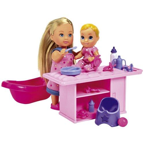 Фото - Набор кукол Simba Evi Love Еви-няня с малышом, 12 см, 5733360 набор кукол simba еви с малышом на прогулке розовая коляска 12 см 5736241 2