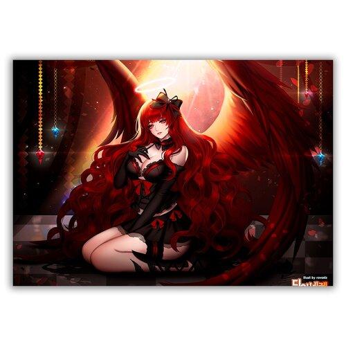 Магнит на холодильник большой - A4, аниме демоны, девушка на коленях, копна волос фигура девушка на коленях золото 10х6х15см 3928137