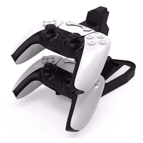 Двойная подставка-держатель MyPads с USB-зарядным устройством/док-станция для игровой приставки PS5 геймпадов Sony Playstation 5 с разъемом Type-C + кабель