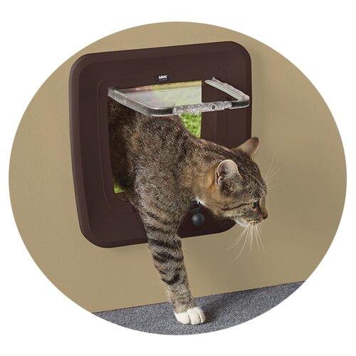 Дверца для кошек MAGNETIC 28,5x29,5см пластик коричневая