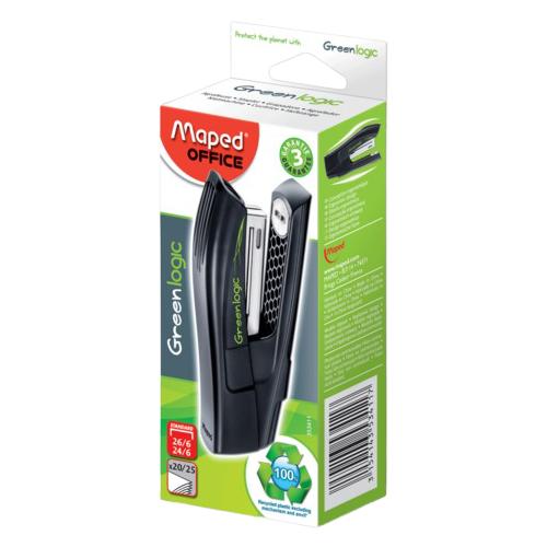 Купить Maped степлер Greenlogic для скоб №24/6, 26/6 (353411) черный, Степлеры, скобы, антистеплеры