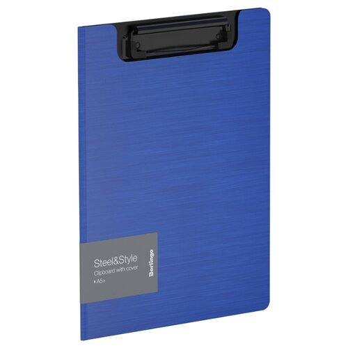 Купить Berlingo Папка-планшет с зажимом Steel&Style A5+, пластик синий, Файлы и папки