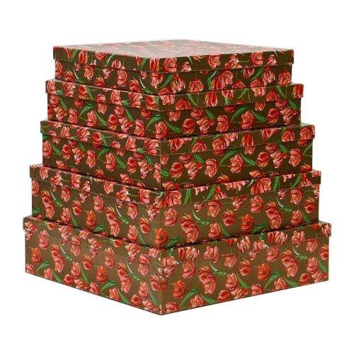 Набор подарочных коробок Мишель Фокс Тюльпаны №14, 5 шт. розовый/золотистый по цене 1 236
