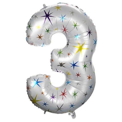 Фото - Шар фольгированный Страна Карнавалия 40 Цифра 3, разноцветные звезды (4640236) воздушный шар страна карнавалия цифра 5 сиреневый