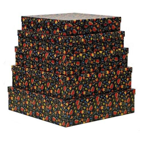 Набор подарочных коробок Мишель Фокс Хохлома №14, 5 шт. черный по цене 1 236