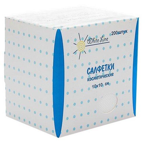 Купить WHITE LINE Салфетки косметические 10x10 см 200 шт. белый