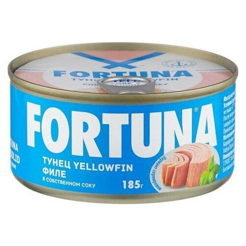 тунец в собственном соку sunfeel 170 г Тунец Fortuna yellowfin филе в собственном соку, 185 г х 6шт