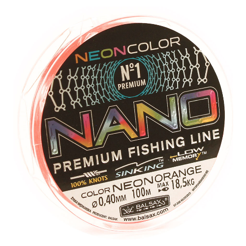 Монофильная леска Balsax Nano neon orange 0.4 мм 100 м 18.5 кг