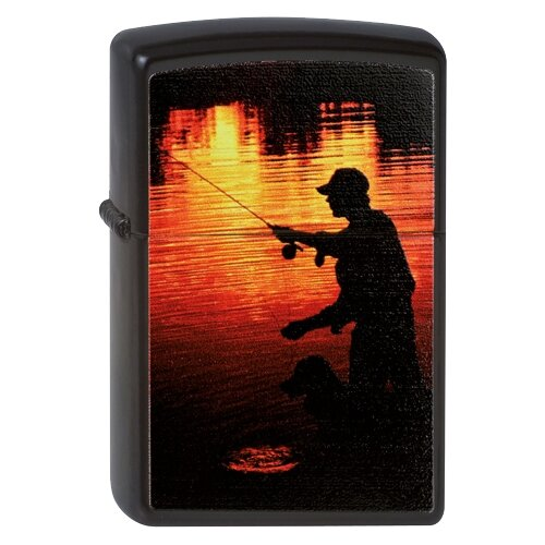 Zippo Classic зажигалка бензиновая Fisherman Black Matte zippo classic зажигалка бензиновая gambling skull black matte
