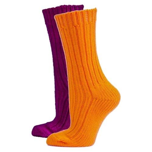 Носки HOSIERY 71505, 2 пары, размер 23-25, оранжевый/фуксия
