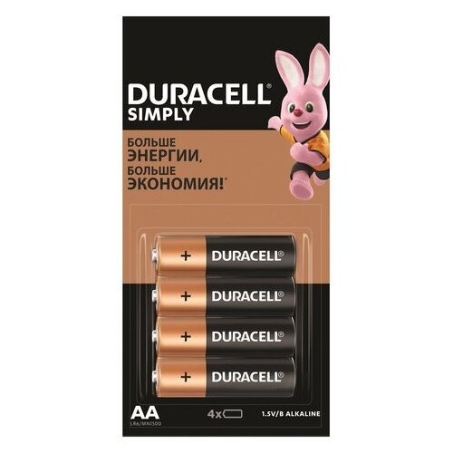 Фото - Батарейка Duracell Simply AA, 4 шт. батарейка duracell basic aa 18 шт