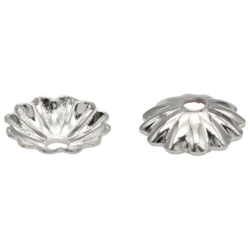 Купить 4AR202 Шапочка для бусин, 3мм 100шт/упак, Астра (Серебро), Astra & Craft, Фурнитура для украшений