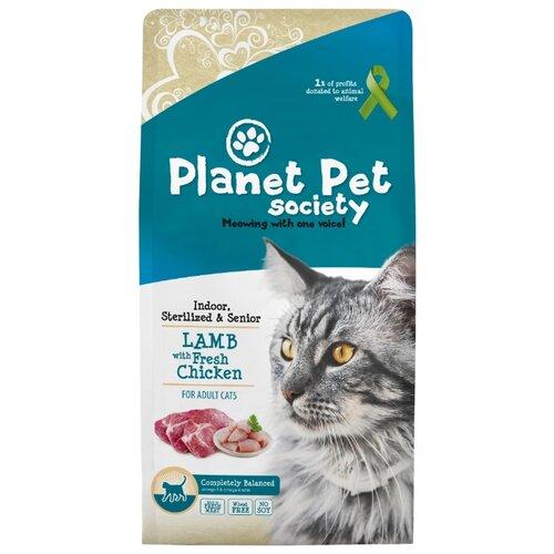 Сухой корм для стерилизованных кошек Planet Pet Society для живущих в помещении, с курицей, с ягненком 7 кг