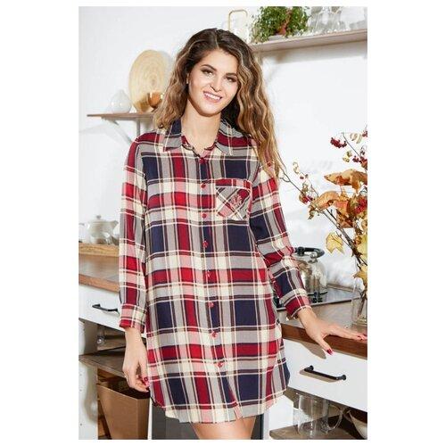 MIA-AMORE Туника-рубашка Yuna с длинным рукавом, красный с синим, XXXL