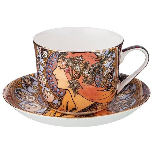 Фото - Набор чайный Lefard Зодиак (А. Муха) на 1 персону, 2 предмета 500 мл (104-663) сервиз чайный из фарфора звездная ночь 2 предмета 104 649 lefard