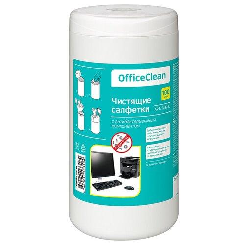 Фото - Салфетки чистящие влажные OfficeClean, универсальные, антибактериальные, в тубе, 100шт. антибактериальные салфетки для поверхностей nv office мягкая упаковка 180х110 мм 15шт