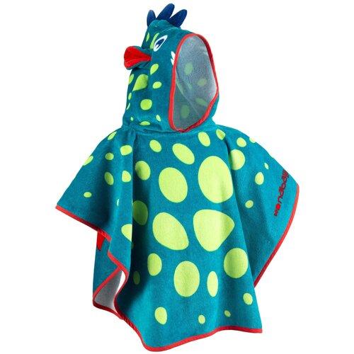 Пончо дет. с капюшоном сине–зеленое с принтом ДРАКОН NABAIJI X Декатлон