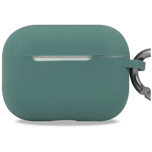 Чехол для наушников Apple AirPods Pro с карабином / Чехол на кейс Эпл ЭирПодс Про с поддержкой беспроводной зарядки / Силиконовый чехол для беспроводных блютуз наушников (Midnight Green)