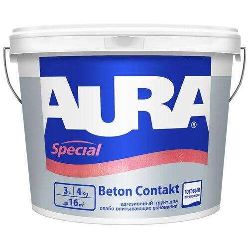 Грунтовка Aura Beton Contakt 3 л 4 кг грунтовка кбс beton kontakt 20 кг