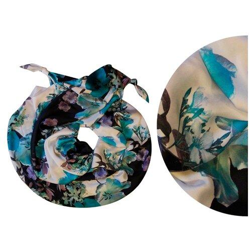 Двойной шарф-долька Оланж Ассорти серия Апрель с узелками белый dolka-шелк-z-150