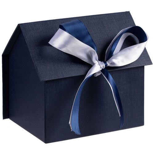 Коробка подарочная с крышкой на лентах синяя