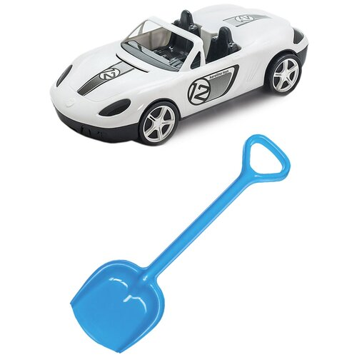 Купить Детский игровой набор для песочницы: Детский автомобиль Кабриолет + Лопатка 50 см. синяя, КАРОЛИНА ТОЙЗ, Karolina toys, Наборы в песочницу