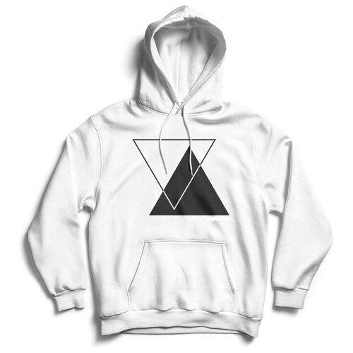 Толстовка ЕстьНюанс с принтом «Треугольники» белая, размер 3XL