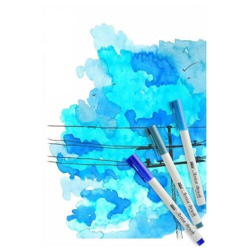 Marvy Uchida / Набор акварельных маркеров д/скетчинга (10,50,56) LOVE BLUE 3 цвета/уп.