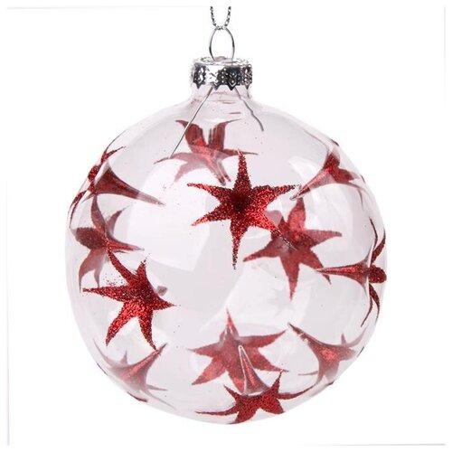 Елочный шар Magic Time 75847, прозрачный/красный, 8 см