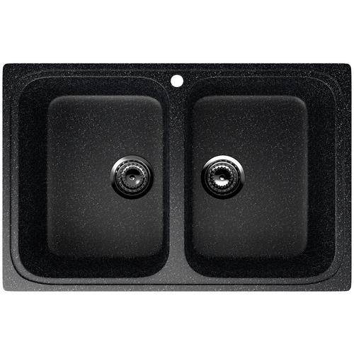 Фото - Врезная кухонная мойка 77.5 см EcoStone ES-23 308 черный врезная кухонная мойка 103 см ecostone es 29 308 черный