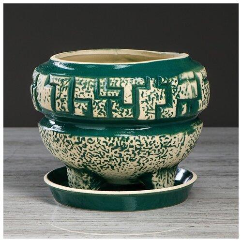 Фото - Цветочный горшок Мозайка зеленый, под шамот, 2 л 4930711 бокал евро рыбак под шамот 1 5 л 3298943