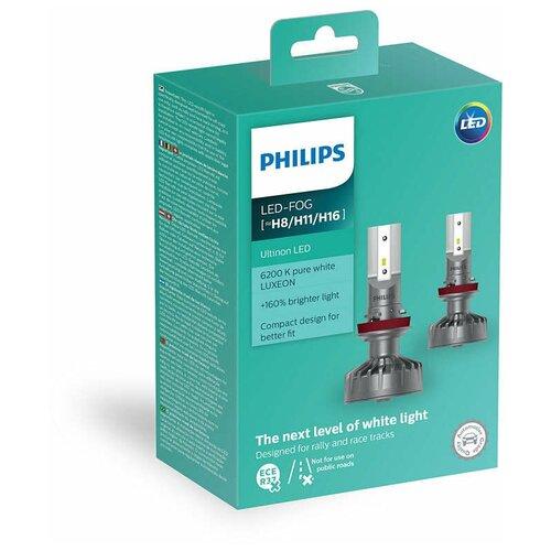 Лампа автомобильная светодиодная Philips Ultinon LED 11366ULWX2 H8/H11/H16 12V 2 шт.