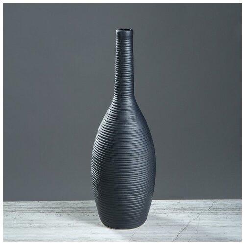 Ваза настольная Кегля, чёрная, матовая, 36 см 4341587 ваза керамика ручной работы кегля 4341586 коричневый