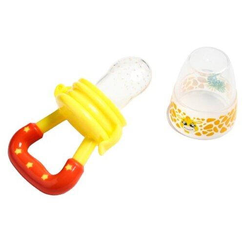 Купить Ниблер для прикорма, с силиконовой сеточкой Жирафик Лило , цвет желтый+красный 2357265, Mum&Baby, Бутылочки и ниблеры