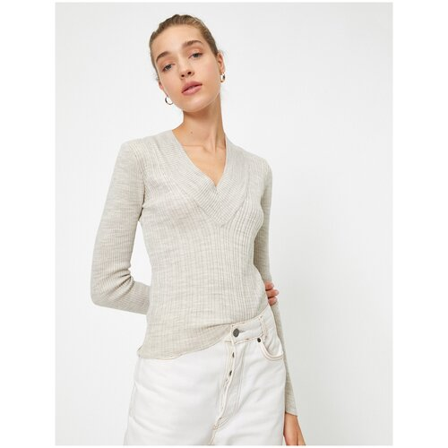 Пуловер KOTON, размер XS(34), 565 серый/коричневый