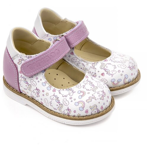 Туфли детские Tapiboo 25010 р21, кожа, СИРЕНЬ белая/лошадки