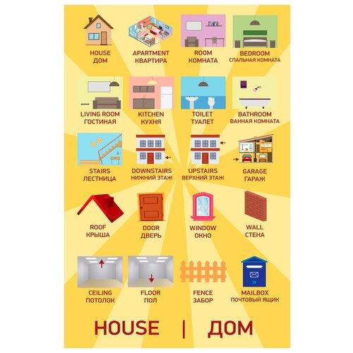 Купить Плакат Квинг А2 Дом — плакат по английскому языку, с переводом, Обучающие плакаты