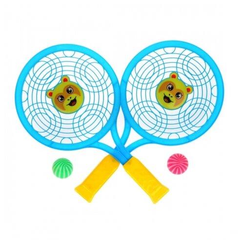 Фото - Набор ракетки детские 30 см, 2 мяча набор для игры в теннис abtoys 2 ракетки 2 мяча на блистере 43x21x4 5