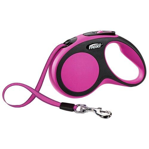 Поводок-рулетка для собак Flexi New Comfort S ленточный розовый 5 м