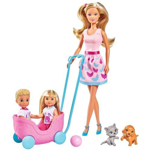 Фото - Набор кукол Steffi Штеффи, Еви и Тимми с питомцами, 29 см (5733229029) набор кукол steffi love штеффи с новорожденным 29 см 5730861