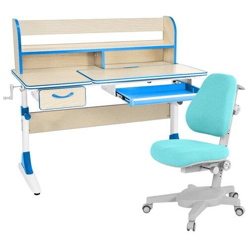Комплект Anatomica Smart-60 парта Study-120 Lux + кресло Armata + надстройка + органайзер + ящик клен/голубой комплект anatomica smart 60 парта study 120 lux кресло armata duos надстройка органайзер ящик клен серый зеленый