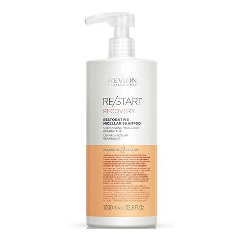 Фото - Revlon Professional RESTART RECOVERY RESTORATIVE MICELLAR SHAMPOO Мицеллярный шампунь для поврежденных волос, 1000 мл wella nutricurls micellar shampoo for curls мицеллярный шампунь для кудрявых волос 1000 мл