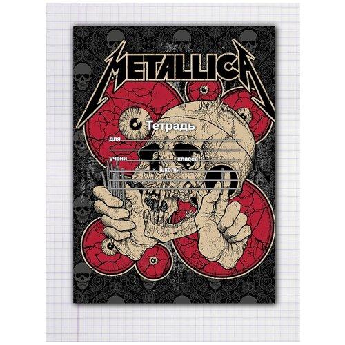 Купить Набор тетрадей 5 штук, 12 листов в клетку с рисунком Metallica Череп, Drabs, Тетради