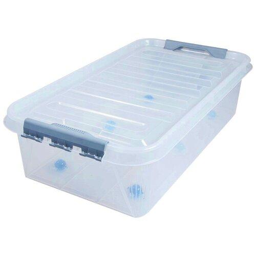 Ящик для хранения на колесах с защелками на крышке ПРОФИ Комфорт 35 литров прозрачный Полимербыт ящик для хранения полимербыт с крышкой прозрачный пластик 16л