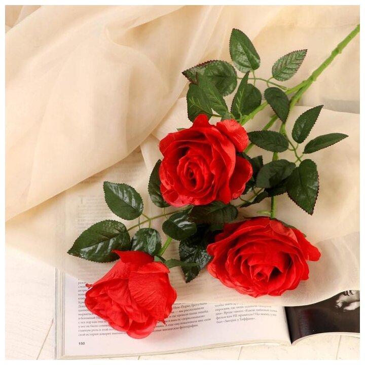 """Цветы искусственные """"Роза аморе"""" три бутона 7*85 см, красная 2803565 — купить по выгодной цене на Яндекс.Маркете"""